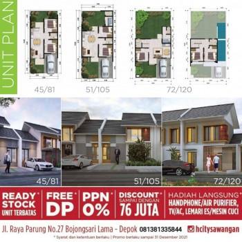 Dijual Rumah Dapat Hadiah Free Dp Di Cluster H City Sawangan Depok #1